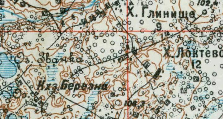 фрагмент карты 1927 года<br>деревня Берёзна