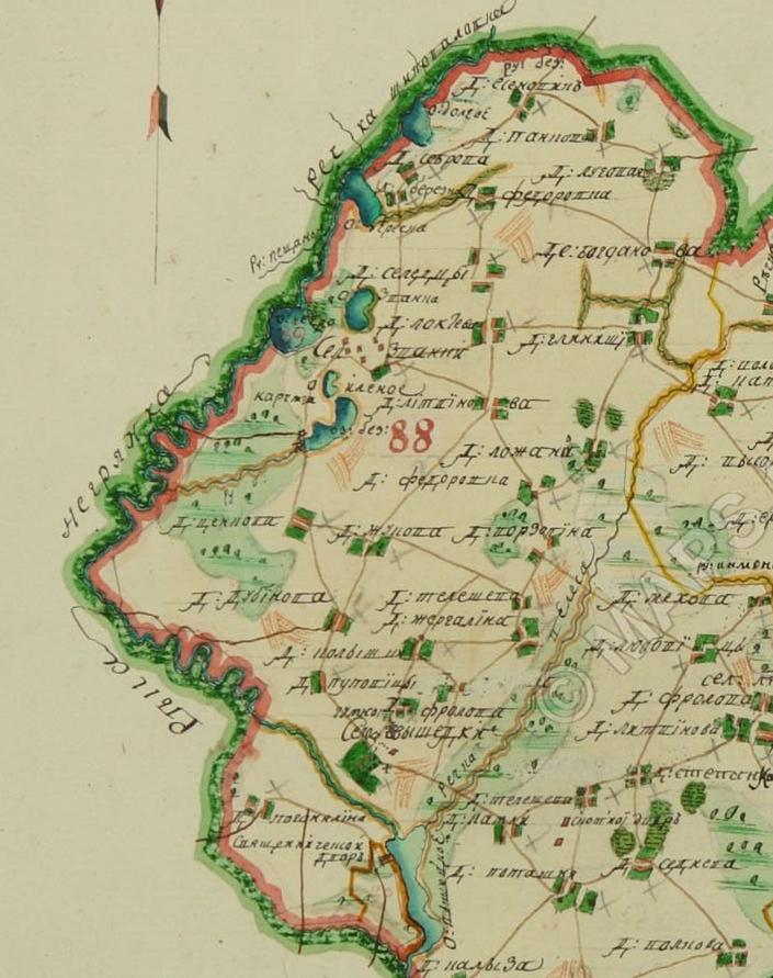 Фрагмент межевой карты Сурожского уезда. (1746 год)