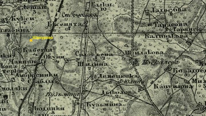 карта 1867 год. Шакурово расположено на противоположной стороне железной дороги от деревни Чавнино (Цавино)