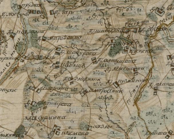 Фрагмент Межевой карты Городокского уезда Полацкого наместничества 1785 года