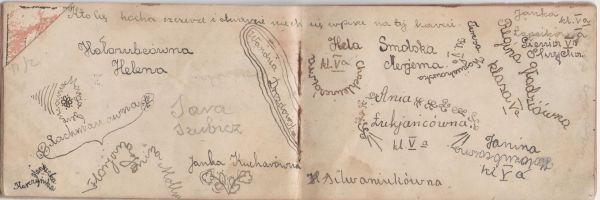 fragment pamiętnika z Postaw (1935 rok)<br><br>Osoby które się wpisały:<br>Hołozubcówna Helena<br>Rachmanówna<br>Ferencóna Marja<br>Haneczka Kurczyńska<br>Florjana Janina Mollus<br>Sara Szubicz<br>Janka Kucharówna<br>Wandzia Drozdowska<br>Hela Chochlewiczówna<br>Smolska Marjanna<br>Ania Łukjaricówna<br>Teresa Wojciechowska<br>H. Siluraniukówna<br>Regina Gładziówna<br>Janka Łapcikówna<br>Gienia Skrycka<br>Janina Hołozócówna<br>Cedrowska Aniela<br><br>Klasa Va Szkoła nr 1 w Postawach