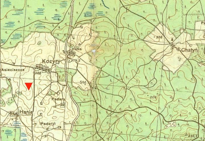 Здымак са старой карты паказвае стан до 1913 года. Стрэлка паказвае, дзе было старажытнае пасяленне...