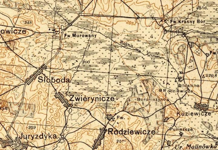 Родзевічы на старой польскай карце.