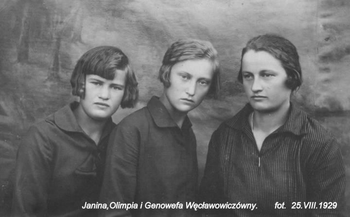 Żeńska część rodzeństwa z Ohłobliszek. Był jeszcze Witold i Bolesław.