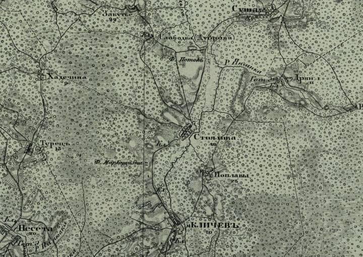 Карта округи Кличева 1913 года