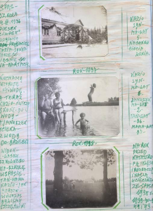 1 zdjecie - Spas - szko&#322;a 1936<br>2 zdjecie - k&#261;piel nad rzek&#261; Wilia 1937<br>2 zdj&#281;cie - widok z lasku na szkol&#281; 1938