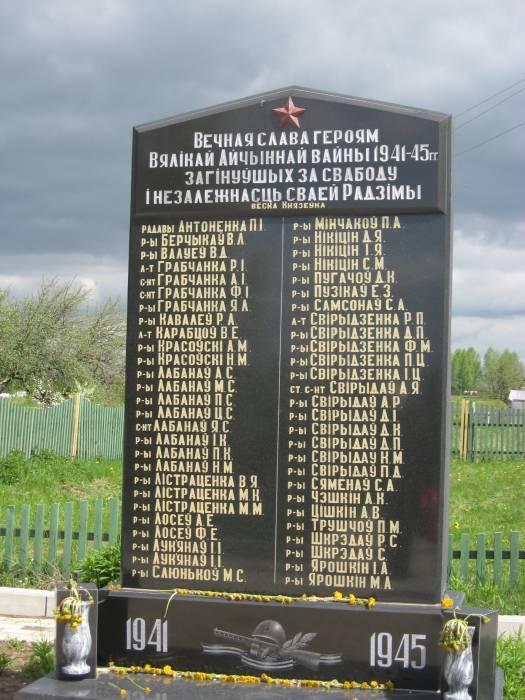 Стела с именами солдат, уроженцев д. Князевка, погибших на войне. Среди них и мой прадед Свиридов Денис Петрович 1900 г.р., который погиб 26 января 1945 года на территории Польши в населенном пункте Шимонка повята Гижицко. Захоронен в г. Гижицко в братской могиле
