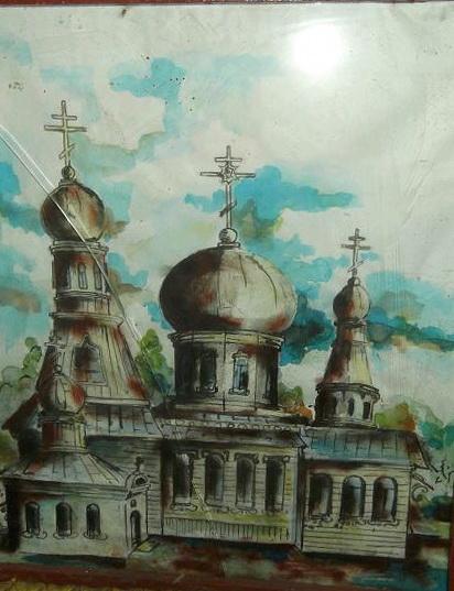 Рисунок Семена Григорьевича Рудникова. Огородне-Гомельская староверческая Свято-Николаевская церковь. Сгорела в 1951 году.