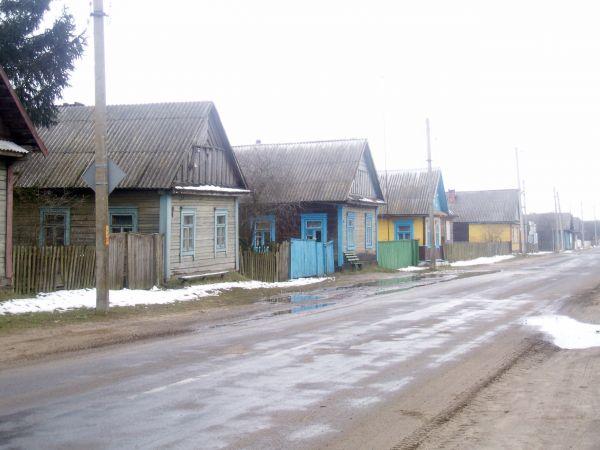 Łunin.ulica zimą