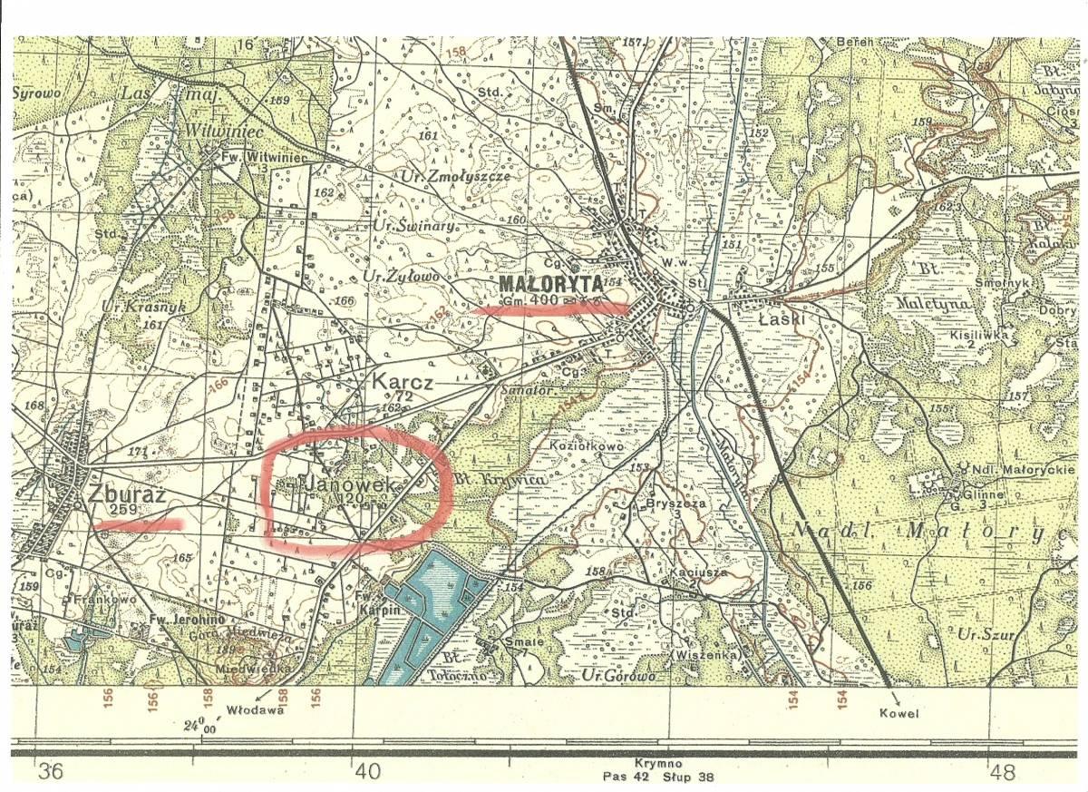Miejscowo&#347;&#263; zaznaczona ko&#322;em na czerwono.<br>Obecnie na tym miejscu ro&#347;nie las.