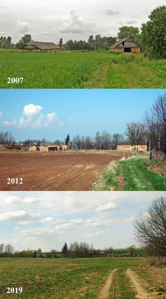 Вид на телятники в разные периоды.