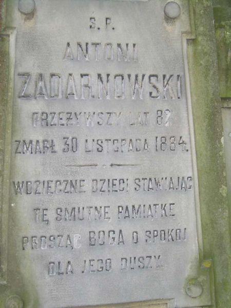 Zadarnowski Antoni - nagrobek w Kobryniu, zm. 1884