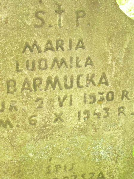 Barmucka Maria Ludmiła - napis na nagrobku, cmentarz w Kobryniu