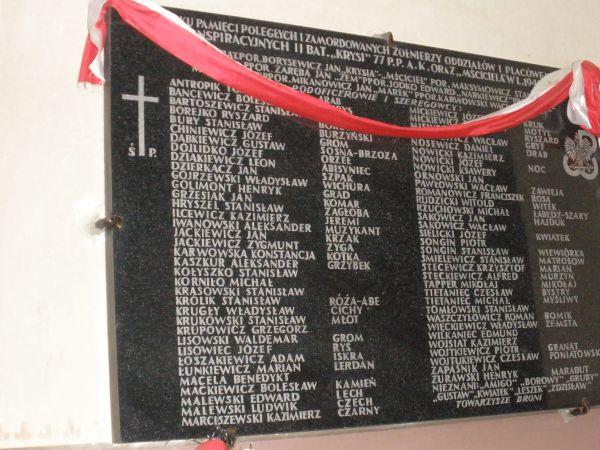 Tablica upamiętniająca żołnierzy AK w kościele w Naczy.