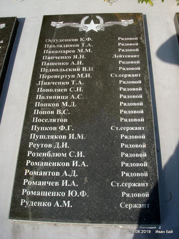 Плита с фамилиями погибших
