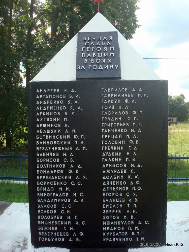 Памятник с фамилиями захороненых