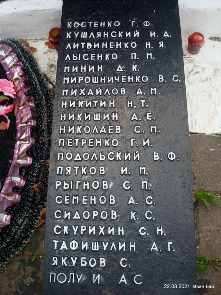Фамилии захороненых в Братской могиле