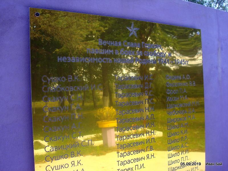 Таблица с фамилиями погибших