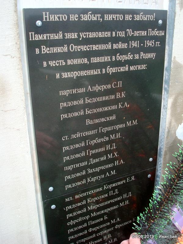 Фамилии похороненных