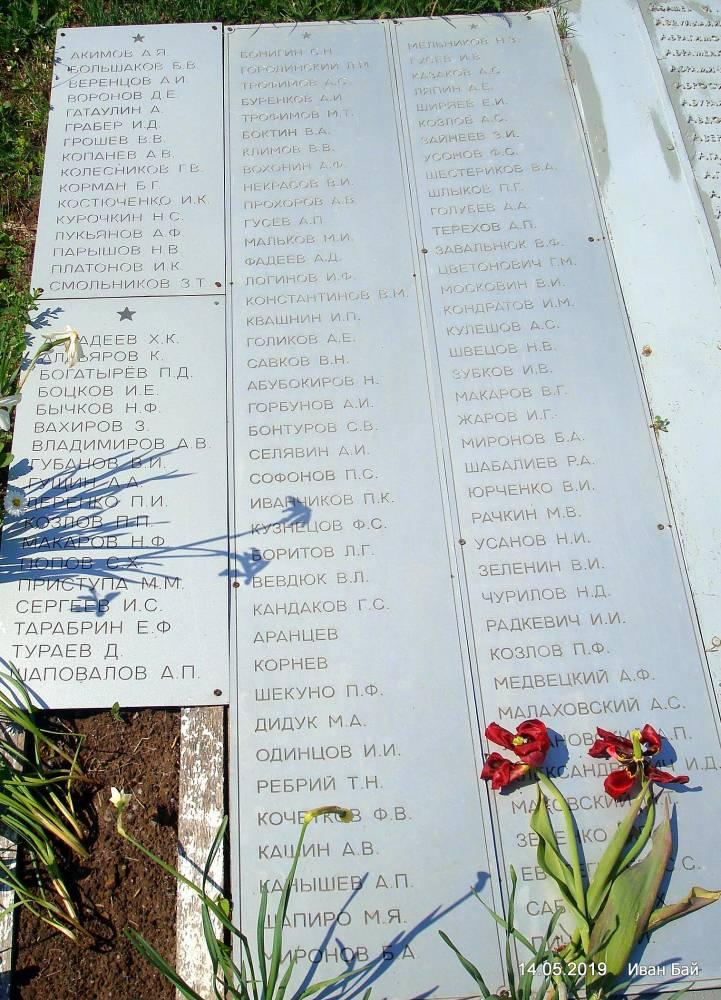 Надгробная плита с фамилиями погибших