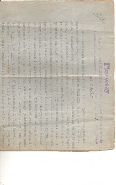 Page 1 of the Purchase document for Majatek Krasiewicze, bought by Jozef Hryniewicz (my great aunt Olga's husband), Jozef Koziol (my grandad), Wincenty Koziol (my great Uncle) and Zofja Pochodnia (my great aunt) in 1929 and held until 1939 when they were taken to Siberia.