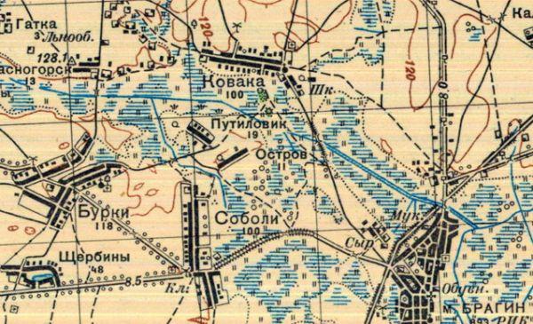 с 17.03. по 14.07.1937 года<br>топографическая карта местности<br>М1:100 000 (1см = 1км)<br>д.Ковака, 100 домов.<br>
